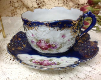 Teacup and Saucer / Japanese Teacup / NPSK Dow Sie Cot Ure / Antique Nippon Teacup / Collectible Teacup