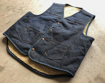 Vintage denim Roebucks Shearling vest.
