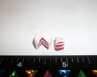 1:24 Scale Dollhouse Miniature Handcrafted Christmas Red Velvet Dessert Cake Doll Food