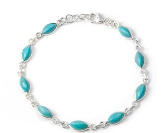 Diamond silver stones bracelet
