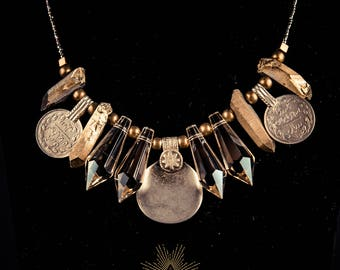 Gold Queen-Tribal Necklace with Champagne Crystals and Gold Quartz