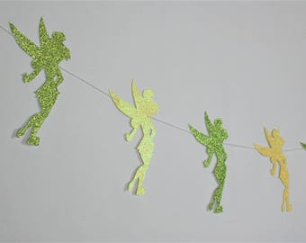 SHIPS FAST - Tinker Bell Garland, Tinkerbell Party Banner, Tinkerbell Banner,  Handcrafted and Shipped in 1-3 Business Days