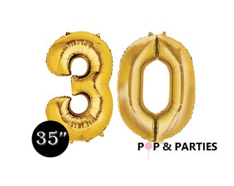 """SHIPS FAST - Giant Gold Number 30 Balloons, 35"""" Gold Balloons, 30th Birthday Balloons, Giant Number Balloons, Gold Party Decorations"""
