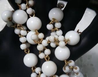 Trifari white beaded vintage necklace