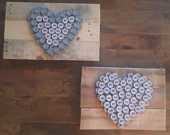 Heart Bottle Cap Wall Art