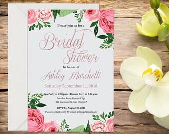 Bridal Shower Invitation, Bridal Shower, Floral Bridal Shower,  Shower Invitation, Printable Invitation, Wedding Shower, DIY wedding
