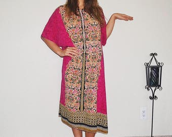 Pink and Gold Pattern Kimono Dress