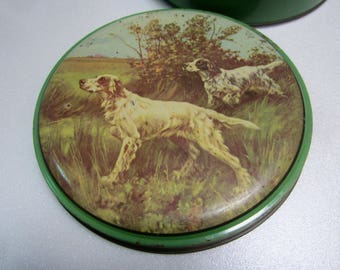 Vintage  round confectionery tin with hunting dogs  - English Setters - on the lid - by 'Yorker'