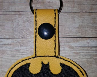 Batman inspired keychain/snap tab or Zipper charm
