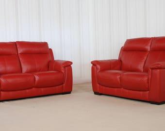 Designer Leather Red Sofa (70)