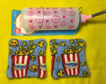 Set Of Two Guinea Pig Movie Night Popcorn Emoji Fleece Absorbent Three Layer Water Bottle Drip Pads Midwest Cage Liners
