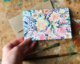 Peony Florals Watercolor Card