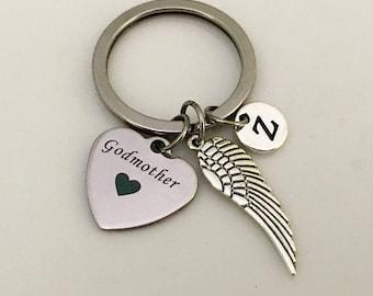 Godmother Gift, Godmother key chain, Baptism, Angel keychain, Godmother jewelry, Gift for Godmother, Personalized gift for Godmother