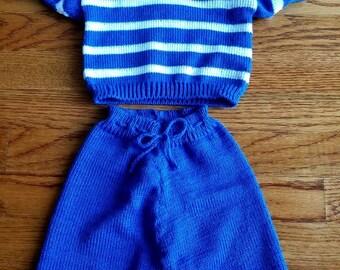 Navy blue T-shirt and Bermuda shorts