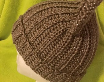 Brown glittery winter crocheted hat with cat ears