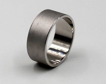 8mm  Silver Flat Comfort Fit Wedding Ring with Sand Satin Finish, wedding band