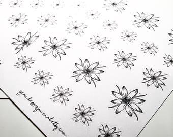 Hand drawn flower stickers - bullet journal stickers, erin condren stickers, planner stickers, scrapbooking stickers, bujo stickers