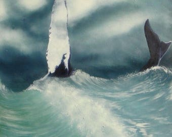 Whale oil painting on canvas 18x18.
