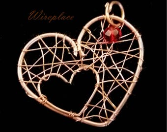 Delicate two hearts in one copper pendant