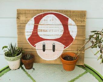 Super Mario Wooden Sign, Super Nintendo Wooden Sign, Mario Home Decor, Rustic Wooden Sign, Nerdy Wooden Sign, Nerd Gift
