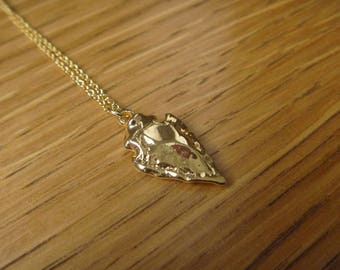 Necklace arrow 18 k gold plated over sterling