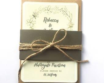 Beautiful Floral Foliage Wedding Invitation
