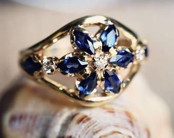 Sapphire & Zircon Ring, Statement Gemstone, Choice of Yellow/White/Rose 14K Gold Band, Gift Her, Engagement, Anniversary, Birthday, Cocktail