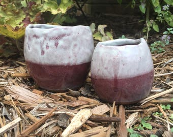 set of two artistic ruby pinch pots