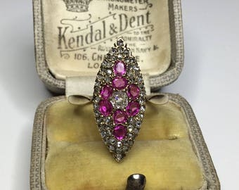 Estate Antique Victorian Era 18K Yellow Gold 1.20 CTW Rose Cut Diamond & Ruby Ring Size 8.5, Free Sizing!!
