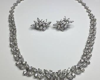 Estate 18K White Gold 18.15 CTW Diamond Necklace & Earrings Set 44.5 Grams