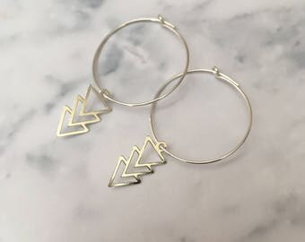 Sterling Silver hoop earrings with Triple Triangle charms