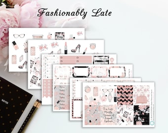 Fashionably Late | Planner Stickers | Single Sheets or Full Kit | ECLP|