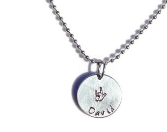 Personalized Sign Language Necklace; Custom Hand Stamped ASL I Love You Necklace; ASL Necklace; Sign Language Jewelry; Custom I Love You