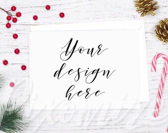 Horizontal Christmas Card Mockup, Landscape Card Mock Up, Styled Mockup Photo With Christmas Props, Winter Card Stock Photo, Winter Flatlay