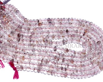 Rondelles Faceted Beads In Lepidochrosite Quartz Beads, Quality AAA, 7 to 7.50 mm, 36 cm, 66 pieces, LE-002/1, Semiprecious Gemstone Beads