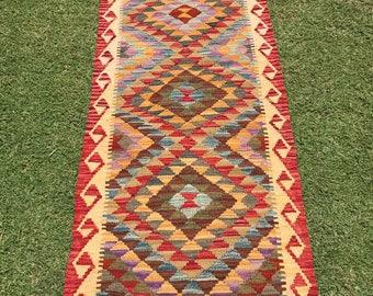Article # 5385 VEGETABLE DYED Hand Made Chobi Kilim Runner Rug Double Face Design 190 x 63 cm - 6.2 x 2.0 Feet