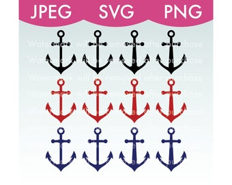 Anchor Silhouette Variety Pack - Nautical, Beach, Ocean, Cricut, Clip Art, Stock Photo, JPEG, PNG, SVG, Vector, Illustration, File Download