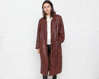 Vintage Brown Leather Long Coat/ Size XL