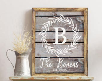 Custom Family Printable / Farmhouse Wedding Gift / Customized Established Sign / First Anniversary Gift / Rustic Newlywed Gift / Wall Art