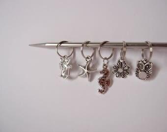 Anneaux marqueurs pour tricot - Lot de 5 - Chat - hiboux - fleur - étoile de mer - hippocampe - anneau marqueur maille