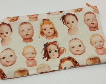 Creepy Doll Heads Novelty Zipper Pouch - makeup bag; pencil case; gift for her; cosmetic bag; carry all; gadget case;