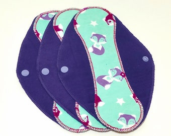 "Foxes Blue on Purple Reusable Pantyliner with Wings (9.5"") - menstrual pad; panty liner; cloth pads; cotton; washable liner; flannel"
