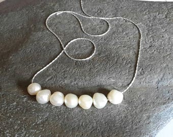 Sterling silver and freshwater ivory pearl choker/necklace. An alternative pearl necklace. Bridesmaid/flower girl/classic/everyday/wedding.