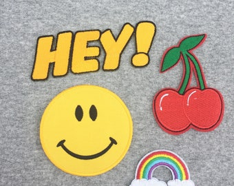 Iron On Sew On Patches/ Hey!/ Rainbow Clouds/ Cherries/ Smiley Face/ Denim patches/ decorative patches/ retro patches