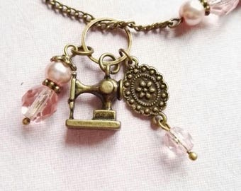 Little sewing machine, sewing gift, sewing hobby, making clothes, charms necklace, romantic necklace