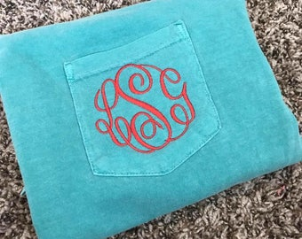 SMALL Comfort Colors Monogrammed Pocket Tee