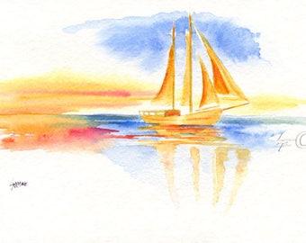 Sailboat Reflection Watercolor, Beach Decor