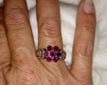 Raspberry Rhodolite Garnet and Sterling Silver Cluster Flower Ring Size 8 1/2 - 9 - Vintage