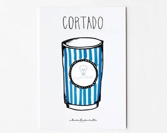 Coffee to go. Hand-drawn postcard with coffee mug and hand pallet ring