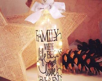 Family Light Bottle - Light Filled Wine Bottle, Family where life begins and love never ends, Fairy Lights Bottle, Lamp, Gift